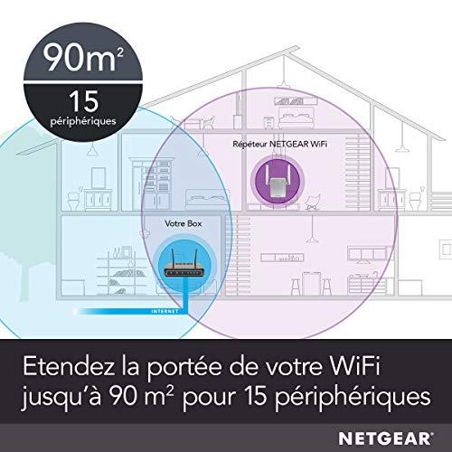 NETGEAR Répéteur WiFi (EX3700), Amplificateur WiFi AC750, WiFi Booster, Supprimez les Zones mortes, jusqu'à 90m² et 15 appareils, repeteur WiFi puissant Boost le Signal jusqu'à 750 Mbps, compact