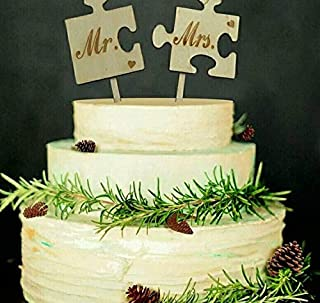 Wedding Puzzle Cake Topper Birthday Cake Topper, Wedding Reception,Wedding Cake Decoration ((ANTLER1))
