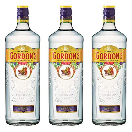 Gordon´s London Dry Gin Alkohol, 3er, Alkohlgetränk, Getränk, Flasche, New Design, 37,5%, 1 L, 721426