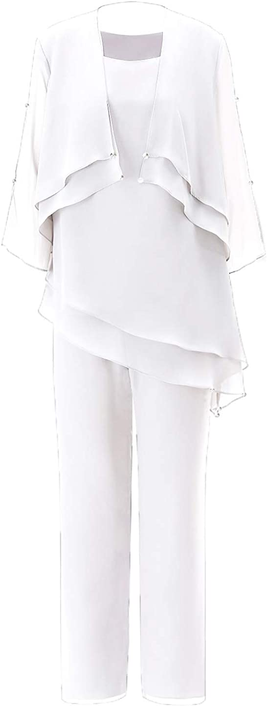 Fitty Lell Women's Plus Size Chiffon Mother of The Bride Gowns Pants Suits Evening Outfits with Jacket