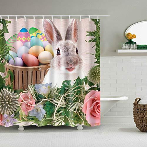 LFIDUGD douchegordijn badkamer douchegordijnen Mooie konijn patroon douchegordijn met 12 haken Home Party Decoraties