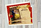 12 Beauty and The Beast The Movie Birthday Invitations (12 5x7in Cards, 12 Matching White envelopes)