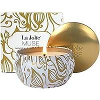 La Jolíe Muse Velas perfumadas de Coco y Vainilla 100% Soja Aromaterapia Lata de Viaje de 45 Horas
