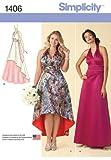 Simplicity Pattern 1406 Women's Special Occasion Dress, Cummerbund and Sash, Plus Sizes 20W-28W
