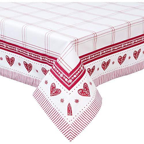 Clayre & Eef BOW01 Tischdecke Rot/Weiss Herz 100% Baumwolle Landhausstil/Romantisch 100 * 100 cm