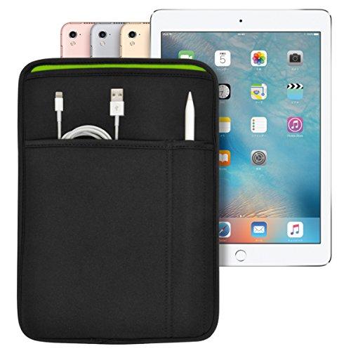 iPad (9.7インチ) Pro/5th/6th/Air2 対応 JustFit スリーブケース (ブラック/レッド) Apple Pencil Lightningケーブルが収納出来る2つのポケット付 専用設計だからジャストフィット IPP97JFSCBR