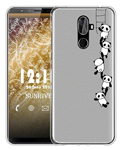 Sunrive Für CUBOT X18 Plus Hülle Silikon, Handyhülle matt Schutzhülle Etui Hülle Backcover für CUBOT X18 Plus(TPU Panda 1)+Gratis Universal Eingabestift