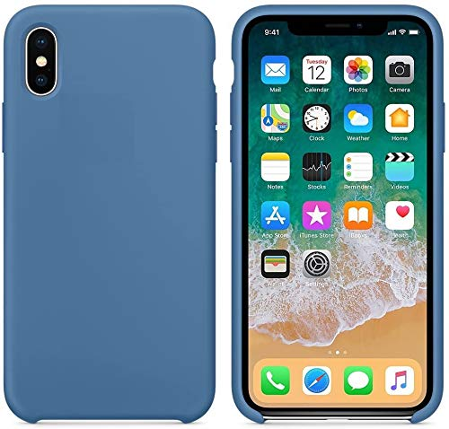 Funda de Silicona Silicone Case para iPhone X, iPhone XS, Tacto Sedoso Suave, Carcasa Anti Golpes, Bumper, Forro de Microfibra (Azul Vaquero)