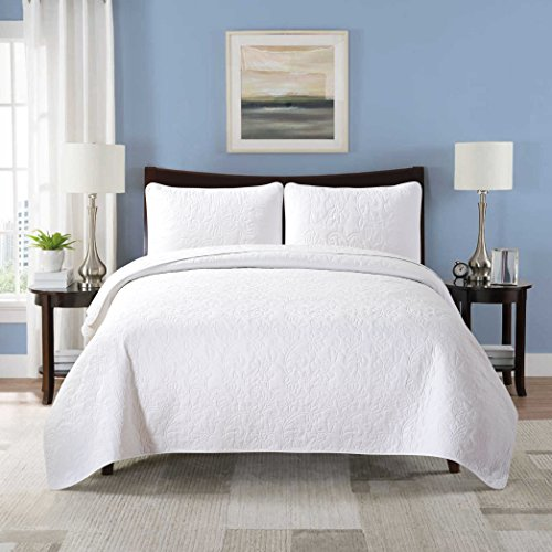 Soul & Lane Solid White 100% Cotton 3-Piece Quilt Set - King with 2 Shams   Floral Modern Quilted Bedspread