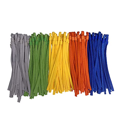 5 Assorted Colors Adjustable Elastic Band String Rope Straps for Mask Sewing, Extra Long 26cm, 100 Pieces Ear Loops for Making Masks Stretchy Cord with Locks Toggles-Colored