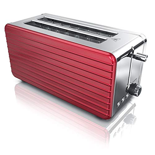 Arendo - Toaster Langschlitz 4 Scheiben - Defrost Funktion - wärmeisolierendes Gehäuse - Abnehmbarer Brötchenaufsatz - 1500W - herausziehbare Krümelschublade - Modell 2020