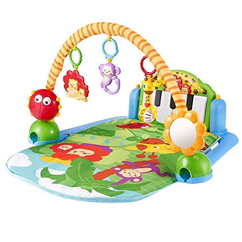Home Equipment Baby Play Piano Gym Baby Foot Exercise Music Rack Fitness Piano Rack Toy With Baby Game Blanket Educational Baby Gift Toys 0 1 Years Old (Color : Multi colored Size : 80x60x46cm)