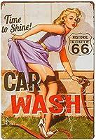 セクシーなブリキの看板美容レトロな金属装飾鉄の絵画洗車美しい女性のフルセット8x12インチの金属ヴィンテージアールデコ