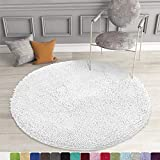 MAYSHINE Round Bath Mat Non-Slip Chenille 3 Feet Shaggy Bathroom Rugs Extra Soft and Absorbent Perfect Plush Carpet for Living Room Bedroom, Machine Wash/Dry-White