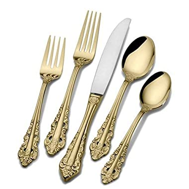 Wallace Antique Baroque Gold-Plated 65-Piece Flatware Set