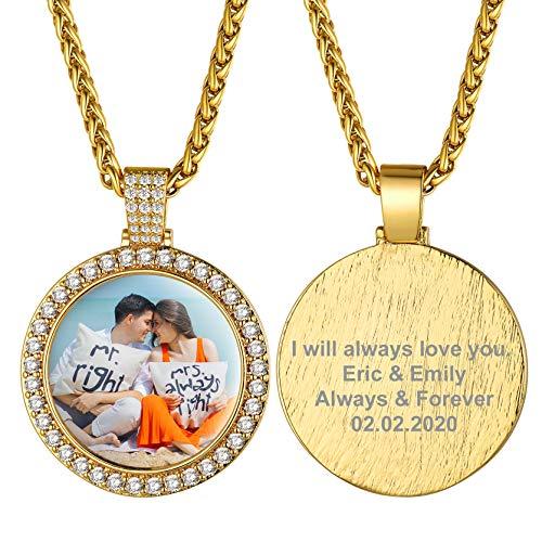 GOLDCHIC JEWELRY Collana con Medaglioni d'oro con Foto Personalizzata per Uomo, Catena di Grano Hip-Hop Ice out