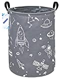 RUNRONG Large Size Round Storage Basket Foldable Waterproof Canvas Laundry Hamper with Handles Nursery Organizer for Bedroom /Living Room/Bathroom(Round Spaceship)