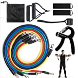 11pcs Workout-Exercise Resistance Bands Set Men and Women-Strength Bands for Working Out,Door Pull Up,Fitness Weight Training,Your Mini Home Gym Kit Hand Grip Exerciser Strengthener and Bag