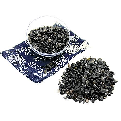 Orientrea 500 Gramm Obsidian Trommelsteine, Mini Obsidian Edelsteine Ladesteine Granulat/Mini Chips, Obsidian Heilsteinen, In Einer Geschenkbox verpackt