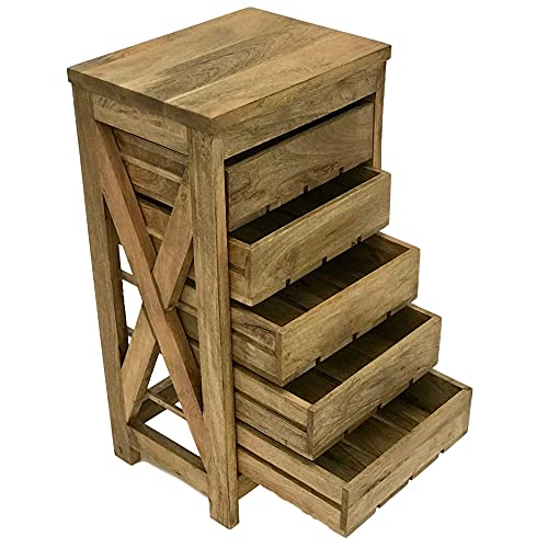 Vegetable Storage Rack for Kitchen   Herb Drying Rack Cabinet   Made of Beautiful Solid Mango Wood with 5 Sliding Drawers