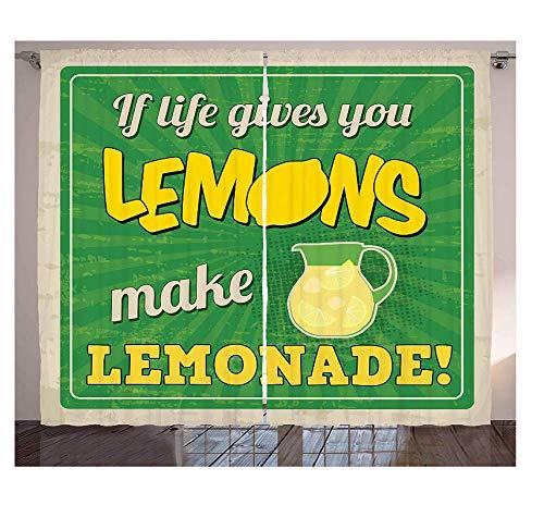 WKJHDFGB Zitat Vorhänge Vintage Pop Art Werbung Design Wenn Das Leben Gibt Ihnen Zitrone Limonade Machen Wohnzimmer Schlafzimmer Fenster Vorhänge 215X260Cm