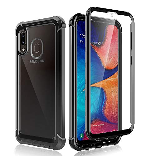 LϟK Compatible for Samsung Galaxy A20 A30 Case with Built-in Screen Protector Full-Body Hybrid Shockproof Bumper Protective Phone Case - Black