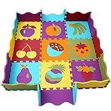 qqpp Tappeto Bambini Puzzle con Certificato CE in Morbido Gomma Eva | Tappeti da Gioco per Bambina | Tatami. 9 Pezzi (30*30*1cm), 16 Accessori per recinto, Frutta. QQP-06b9F16