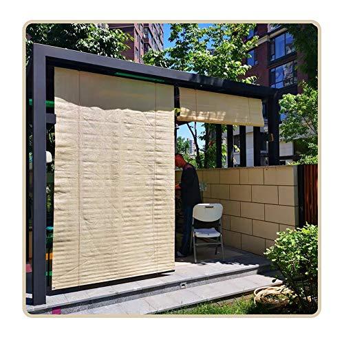 QIANDA Estor for Exterior, Vertical Pérgola Apagón 95% Sombra Filtrado De Sol con Tracción Lateral, Beige, Personalizado Tamaños (Size : 120x160cm)