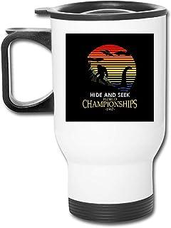 Bigfoot y Loch Ness Monster Hide and Seek con vaso de acero inoxidable de 16 onzas, taza de café de vacío de doble pared con tapa a prueba de salpicaduras