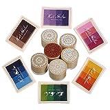 Tampons encreurs de doigt Rainbow Craft Flower Stamps 24 couleurs bricolage pour tampon en caoutchouc Scrapbooking bricolage et décoration en carton (6 tampons encreurs avec 6 tampons)