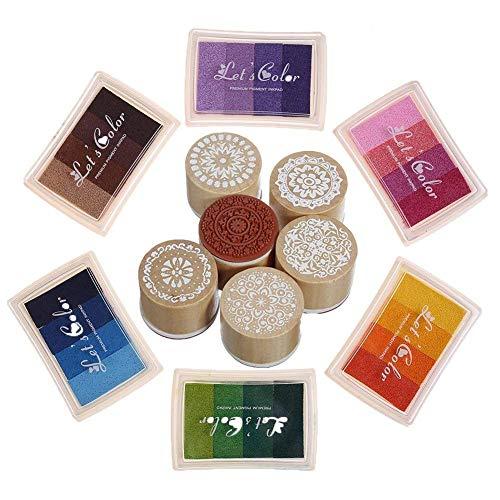 Rainbow Craft Dedo Almohadillas de tinta Sellos de flores 24 Colores de bricolaje para sello de goma Scrapbooking de bricolaje y decoración de tarjetas (6 almohadillas de tinta con 6 sellos)