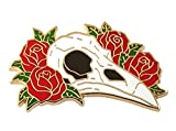 Pinsanity Ravel Skull with Red Roses Enamel Lapel Pin