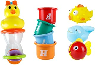 NUOLUX 5pcs/Set Cute Rubber Squeaky Animals Bath Toys Water Play Bathroom Classic Floating Toy for Baby Kids