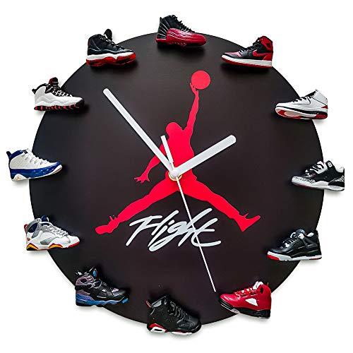 JoonieHouse Decorative Wall Clock with 3D Mini Sneakers, Sneakerhead Style Jordan Clock for Kids Birthday Gift