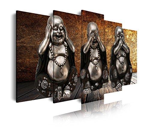 DekoArte 114 - Cuadro moderno en lienzo 5 piezas estilo zen tres budas ver, oir y callar, 150x3x80cm