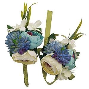 Silk Flower Arrangements Evniset Wedding Ribbon Wrist Corsage Brooch Boutonniere Set Artificial Succulent Plant Party Wedding Decoration (Blue 2-Pack)