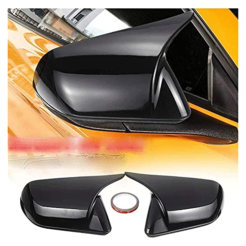 MEIXIANG Mei-Xiang Coche Brillante Black Horn Style Retroview Espejo Lateral Cubierta Retrovise Taps ABS Trim Shart FIT para Ford Mustang 2015-2020 (Color : Shiny Black)