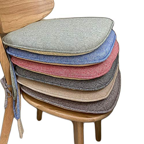 sunshinelh Juego de 4 cojines para silla de comedor con base antideslizante, cojín para asiento de cocina y comedor con funda lavable a máquina, lino natural (negro)