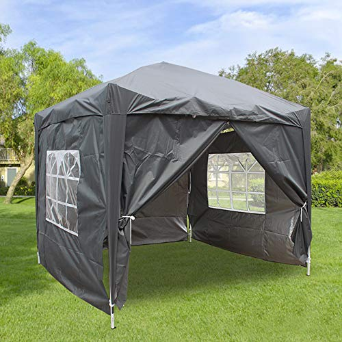 Greenbay 2x2M Pop-up Gazebo Outdoor Garden Party Tent Folding Gazebo with 4 x Sidewalls | 4 x Leg Weight Bags | Carrying Bag | Anthracite