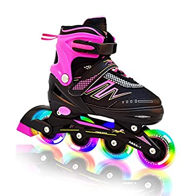 Hiboy Adjustable Inline Skates with All Light up Wheels, Outdoor & Indoor Illuminating Roller Skates for Boys, Girls, Beginners (Pink, Medium-2-5) …
