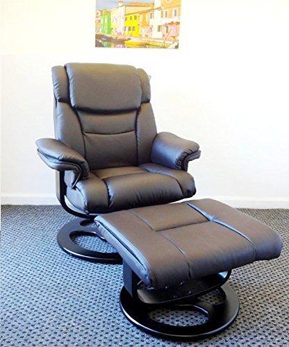 PML Executive Supreme Home Office Komfort Luxus Liege PU Kunstleder Arm Stuhl mit Fuß Hocker Fußauflage und 360°-Drehgelenk braun