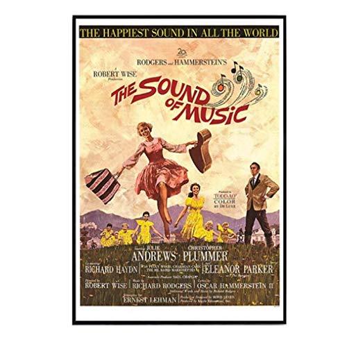 DrCor Sound of Music (1966) Vintage Classic Movie Poster Decoración para el hogar Decoración de Pared Arte de la Pared Pintura en Lienzo Cnavas Print -20x28 Inch Sin Marco 1 Uds