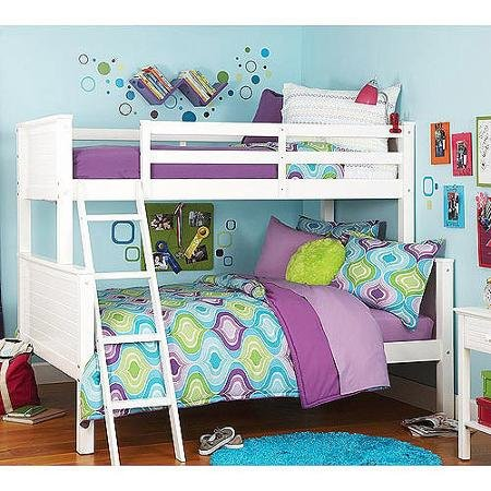 Your Zone Zzz Collection Twin-over-full Bunk Bed, White (Twin-over-full, White)