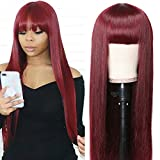 UNice Burgundy Silk Straight Human Hair Wig with Bangs, Mongolian Remy Hair Machine Made Glueless Non Lace Front Wigs for Women Red Color 150% Density (18 inch)