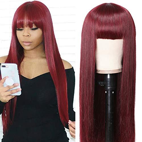 UNice Burgundy Silk Straight Human Hair Wig with Bangs, Mongolian Remy Hair Machine Made Glueless Non Lace Front Wigs for Women Red Color 150% Density (20 inch, 99J Burgundy Color)