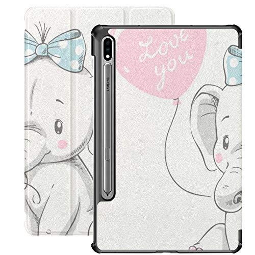 Funda Galaxy Tablet S7 Plus de 12,4 Pulgadas 2020 con Soporte para bolígrafo S, Lindo Elefante Globo Dibujado a Mano Vector Delgado Soporte Funda Protectora Folio para Samsung
