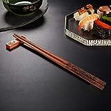 UNIFONE Essstäbchen, wiederverwendbar, chinesischer Stil, Holzdrache und Phönix, Essstäbchen, mit Halter und Tragetasche, chinesisches Geschenk-Set (2 Paar) - 3
