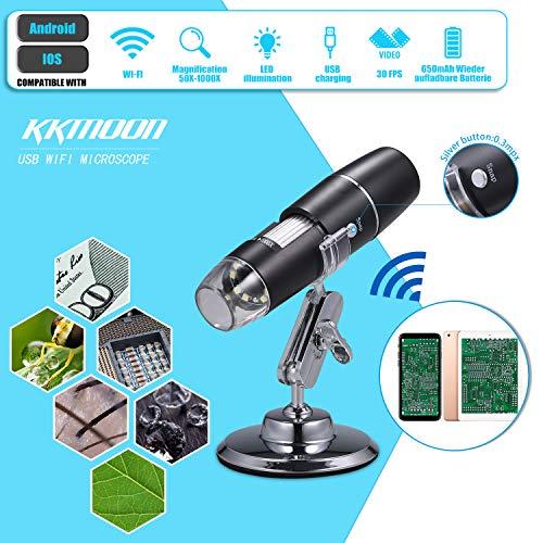 KKmoon USB WiFi Mikroskop Kamera 1000x Wireless High Definition 8 LED Digital Mikroskop mit Ständer Weihnachten Halloween Pädagogisches Geschenk für Kinder