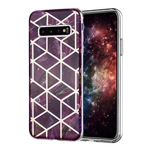 Misstars Hülle für Galaxy S10 Plus, Bling Glitzer Geometrischer Marmor Muster TPU Silikon Weiche Schutzhülle Slim Handyhülle Kompatibel mit Samsung Galaxy S10 Plus, Lila