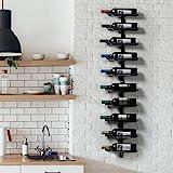 Yaheetech Portabottiglie Vino da Parete 126 cm Scaffale Metallo Vino Porta 10 Bottiglie Mobile Esposizione Vino Nero